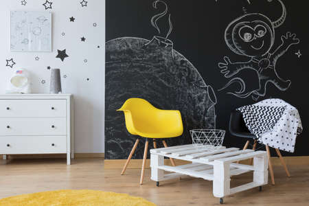wall paintings: Room for cosmonautics fan with wall paintings Stock Photo
