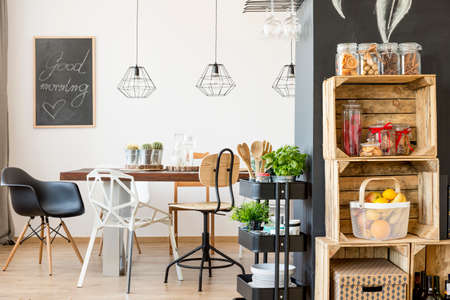 communal: Spacious dining room with communal table