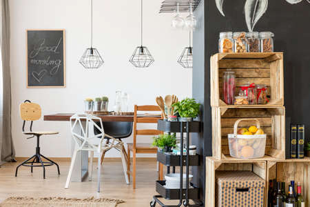 communal: Modern dining room interior with communal table Stock Photo