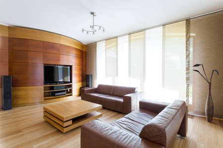 Elegant living room with two leather sofas, wide window and home cinema system Zdjęcie Seryjne