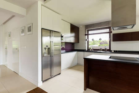 steely: White and spacious kitchen in big and modern house