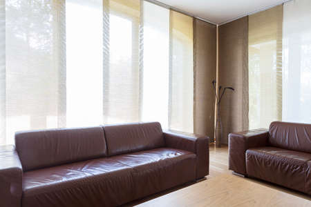 couches: Brignt elegant interior with two leather couches and coffee table
