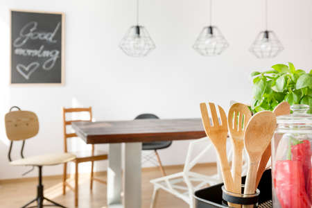 communal: Communal table in bright dining area Stock Photo