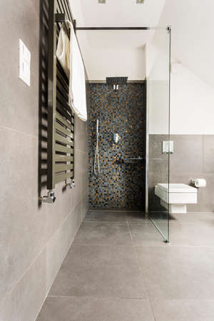 steely: Modern and grey bathroom with shiny tiles and white lavatory