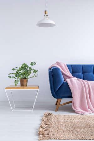 Belle chambre avec canapé bleu, tapis, lampe et table en bois