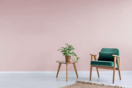 녹색 안락 의자, 양탄자 및 사이드 테이블 핑크 룸