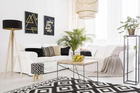 Zwart-witte woonkamer met bank en patroon tapijt Stockfoto