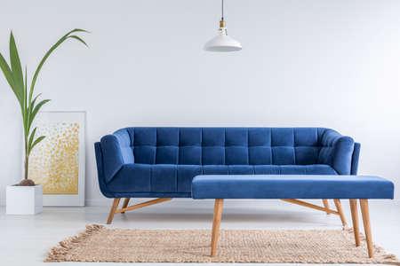 apartamento blanco con sofá azul, banco, una alfombra y una planta verde Foto de archivo