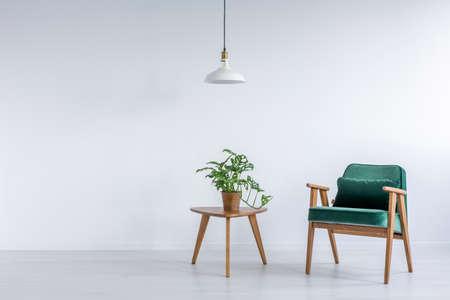 Witte kamer met groene leunstoel, kleine tafel en plant