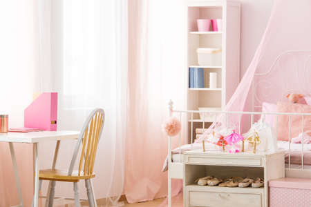 Functional pink room with bed bookshelf chair and desk photo & Bright Girl Room With Desk Chair And Pink Canopy Bed Stock Photo ...