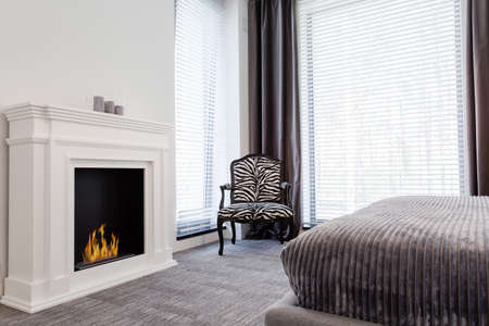 Elegant grey room with zebra pattern armchair and stylish fireplace