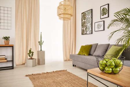 Salle lumineuse avec un design terreux et un bol de pommes Banque d'images - 71967960