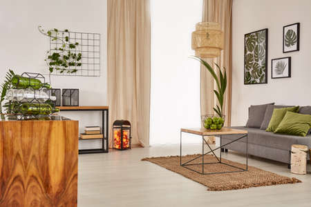 living room furniture: Living room with comfortable sofa and wooden furniture