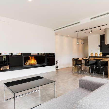 Intérieur spacieux contemporain avec canapé, cheminée et cuisine ouverte noire Banque d'images - 72003411