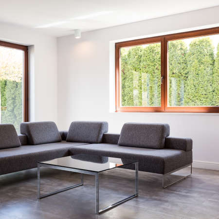 ascetic: Modern living room with a large grey sofa and a glass coffee table standing by two windows