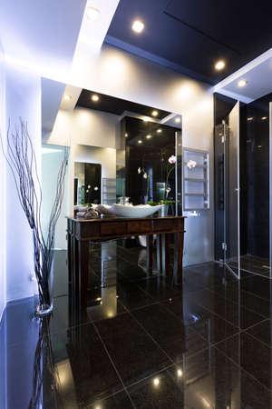 bathroom wall: High gloss modern bathroom with black floor and white wall