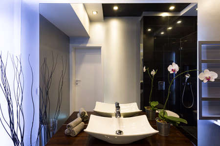 basins: Black and white bathroom with two countertop basins