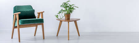 Green chair and little wooden stool with plant on it Stock Photo