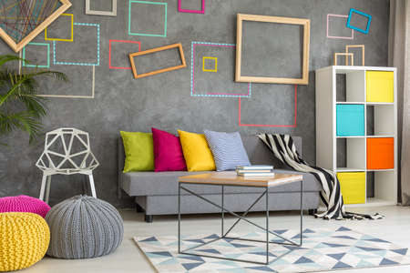 living room wall: Modern living room with decorative concrete wall Stock Photo