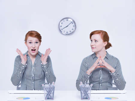 Different moods of female worker in office