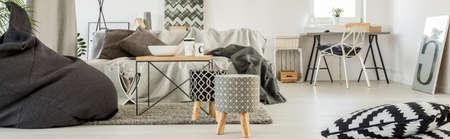 modern living: Grey living room with cozy modern decor Stock Photo