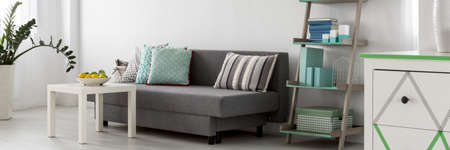 Comfortable grey sofa with cushions in a bright living room