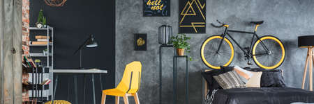 furniture home: Grey and yellow studio apartment interior with big bed and bicycle
