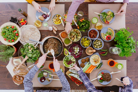 healthy lunch: Green healthy vegetarian food for lunch with friends Stock Photo
