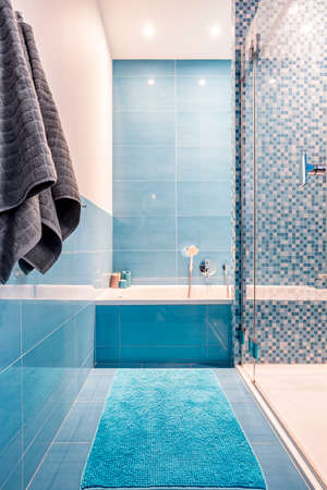 Bathtub and shower in modern designed blue bathroom Фото со стока