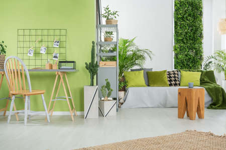 Groen huis interieur met bank, bureau, stoel en metalen boekenkast