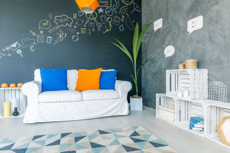 social apartment: Modern and comfortable room with white furniture