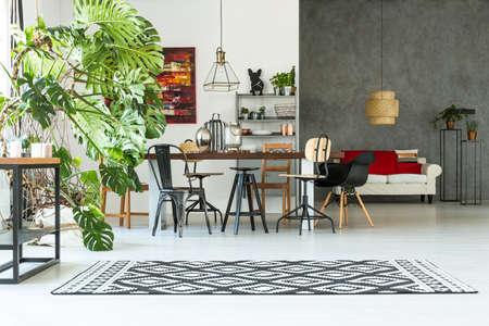 Gris et décoration loft blanc avec table commune et monstera