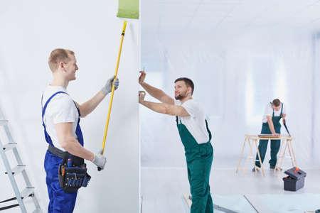職場の制服でプロの男性建設クルー
