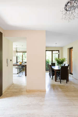lightsome: Spacious and lightsome corridor open to the kitchen and dining area Stock Photo