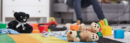 pedant: Soft toys laying on the floor in living room interior