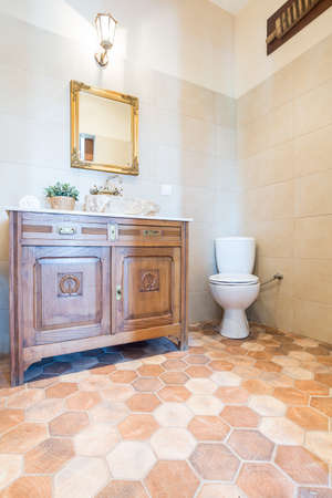 lucidity: Part of the elegant spatial bathroom with toilet seat, mirror and cabinet Stock Photo