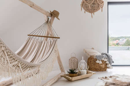 comfortable cozy: Room interior with hammock and stylish decorations