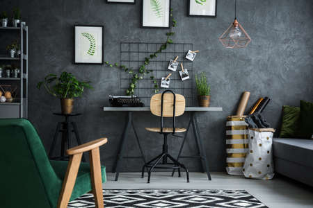 Functional working area at modernly designed home Stock Photo