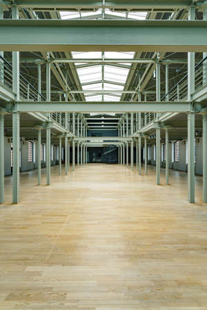 roof windows: New industrial warehouse with roof windows and wood floor Stock Photo