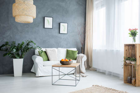 Grey living room with sofa, table, lamp and green plants 版權商用圖片