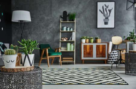Gemütliches Zimmer mit Pflanzen und stilvollen Möbeln Standard-Bild - 73768584