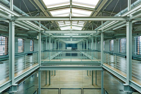 roof windows: Modern industrial interior with roof windows, steel railings and balustrades Stock Photo