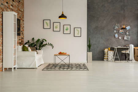 Modern apartment with living room open to home office