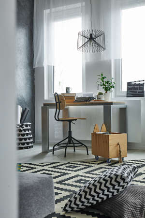 home office: Home office area with desk and chair