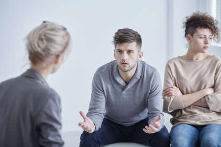 married couples: Man and woman during therapy for married couples Stock Photo