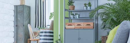 office furniture: Metal shelf and wooden decoration in botanic style room