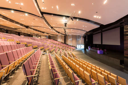 technical university: Modern equipped assembly hall with platform for speakers and places for the audience