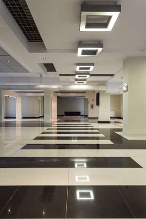 Empty spacious hall in white and black colors with silver accents