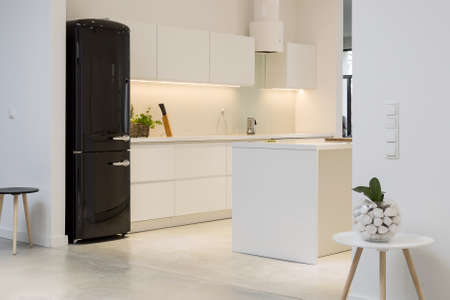Minimalistic kitchen interior with white furniture and a black modernist fridge
