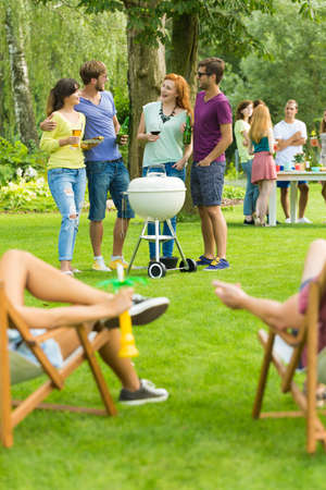 Friends standing beside barbecue grill, people resting on deckchairs